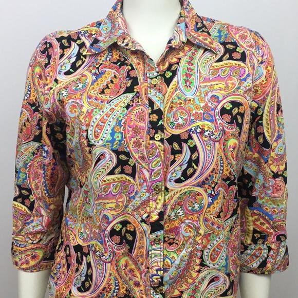 7da8c978 Chaps Tops | Womens Xl Paisley Button Front Shirt | Poshmark